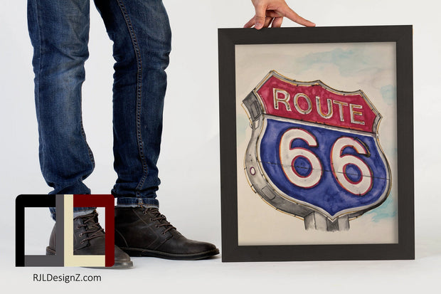 "HAND DRAWN Original Watercolor art ""Route 66"" Available in 9x11, 11x14, 20x30 and 24X36 Prints as well!!"