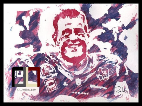 "HAND DRAWN Original Watercolor ""JJ-99"" featuring JJ Watt! Available in 9x11, 11x14, 20x30 and 24X36 Prints as well!!"
