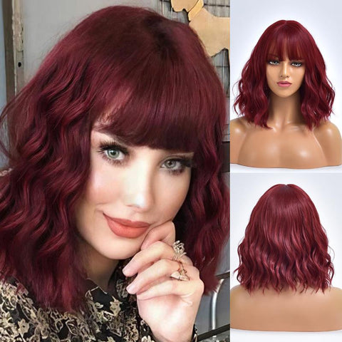 synthetic red wig with bangs for white women