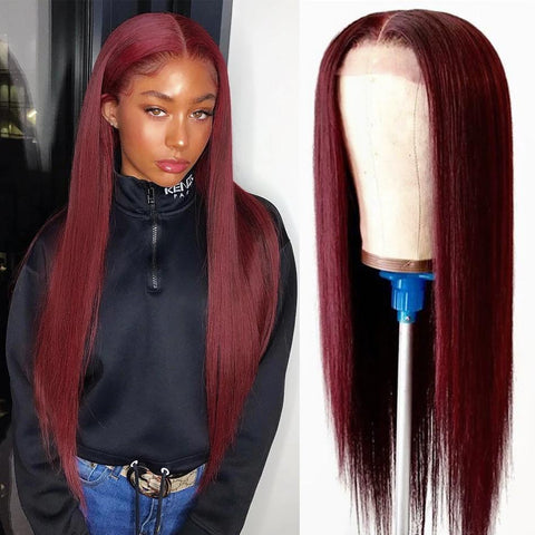 red wig long silky straight wig