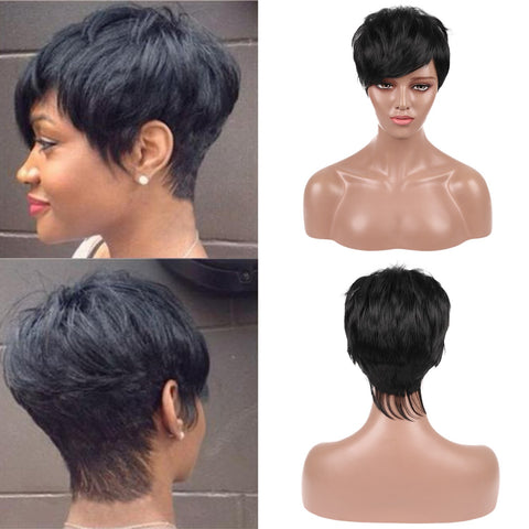 pixie cut short wig synthetic for black women