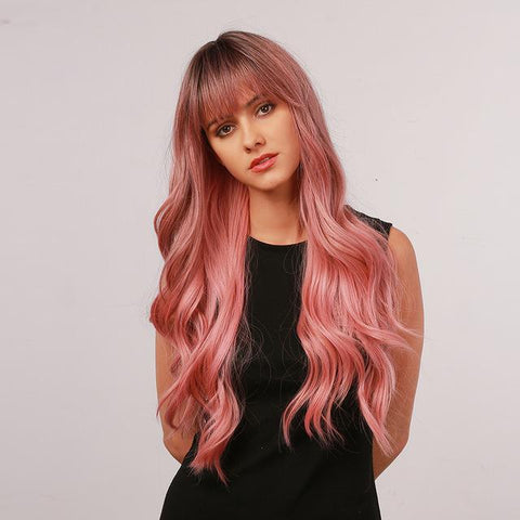 synthetic pink wig with bangs for white women