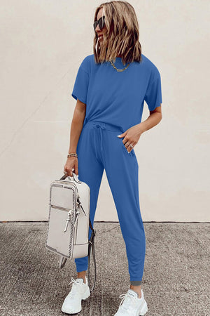 Blue Cozy Classic Cotton T-Shirt Pants Set Sports Wear