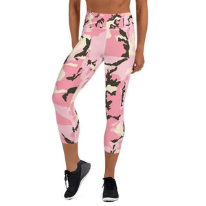 Pink Camo Breathable Comfy Yoga Capri Leggings