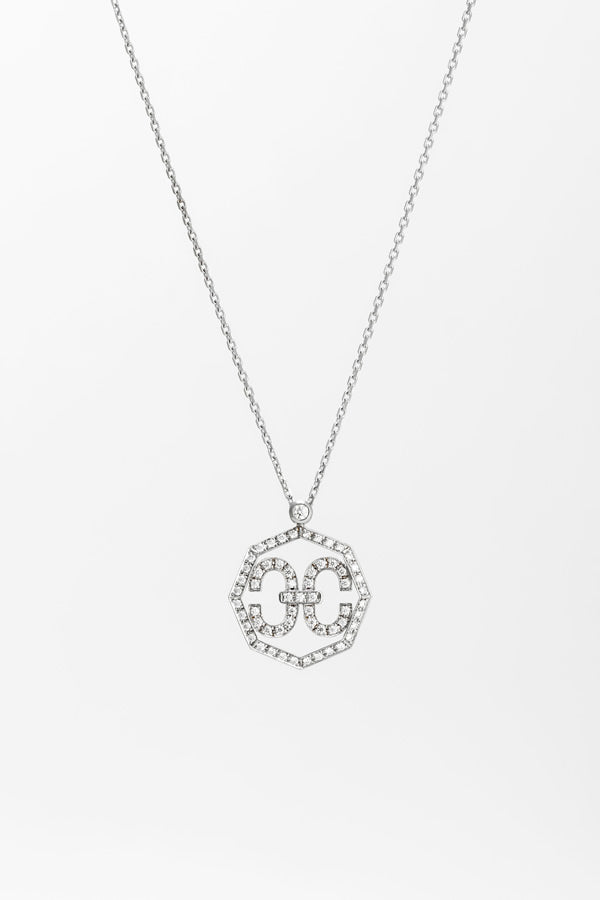 EC OCTAGON NECKLACE WG WITH DIAMOND