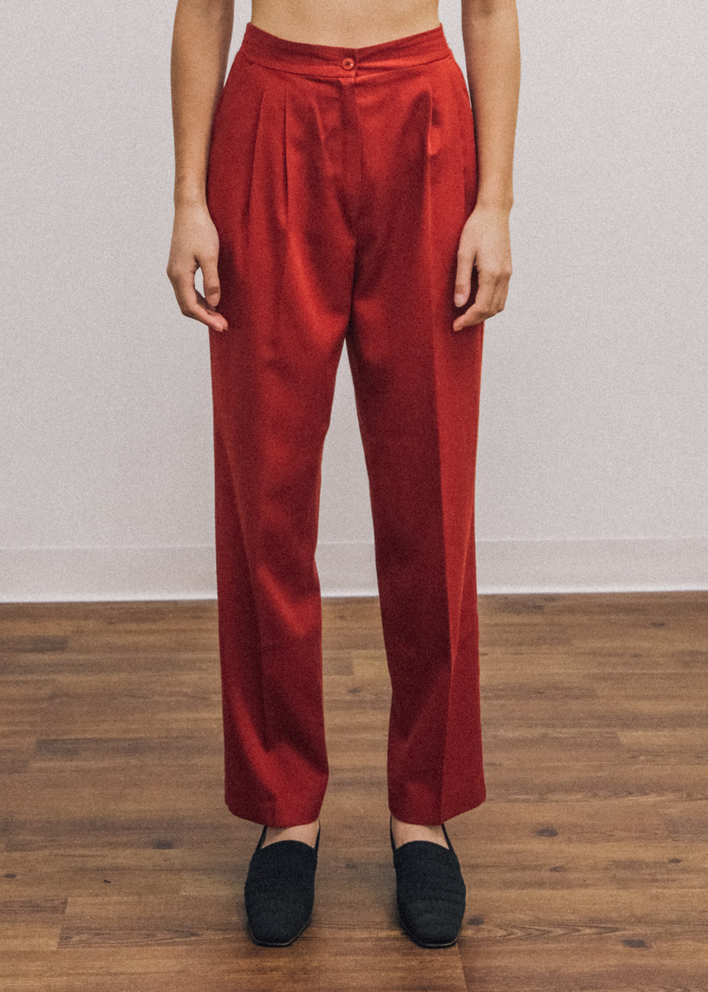 Pre by New Classics Vintage Red High Waist Trousers — Shop sustainable fashion and slow fashion at New Classics Studios