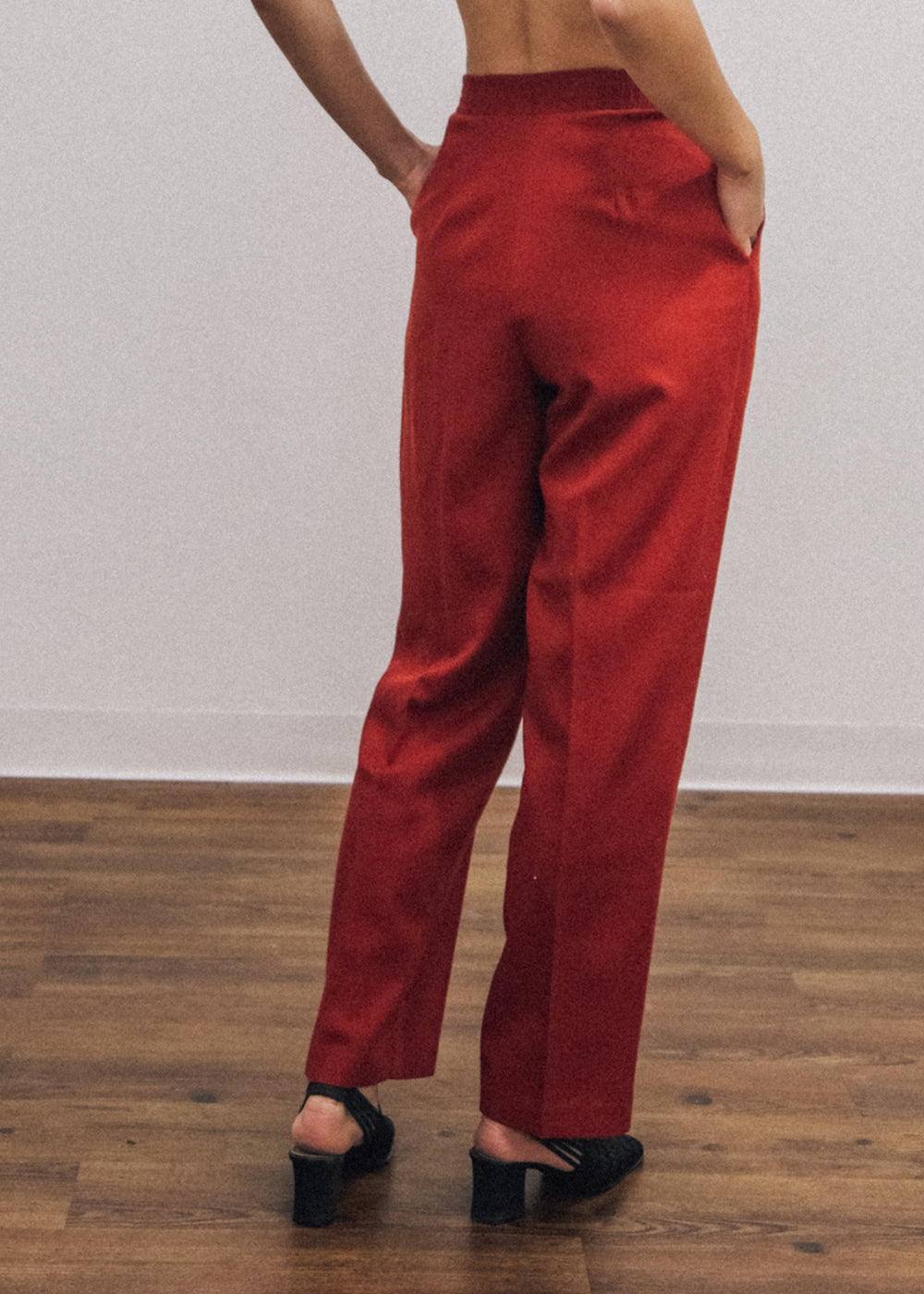 Vintage Red High Waist Trousers