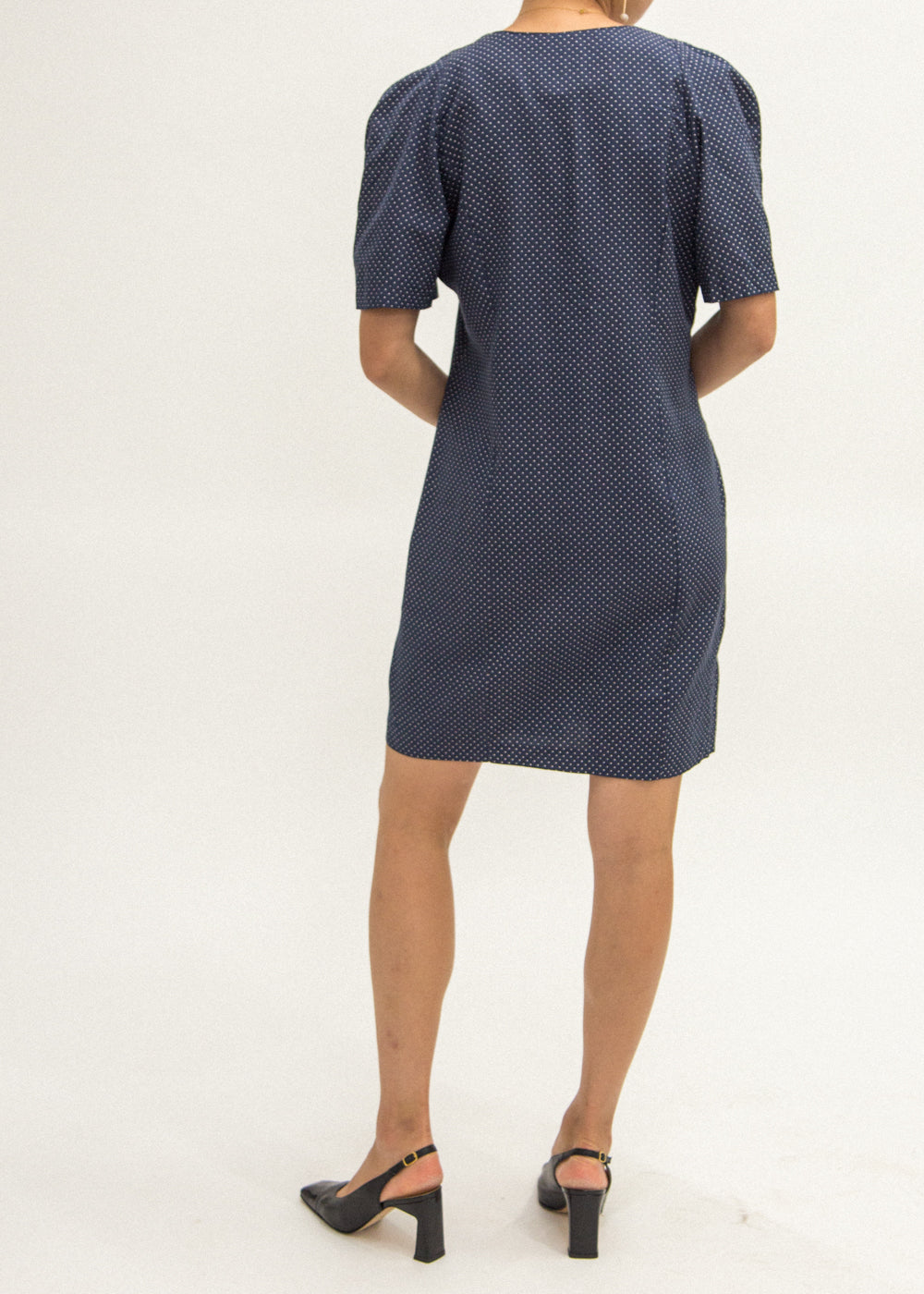 Pre by New Classics Vintage Navy Polka Dot Dress — Shop sustainable fashion and slow fashion at New Classics Studios