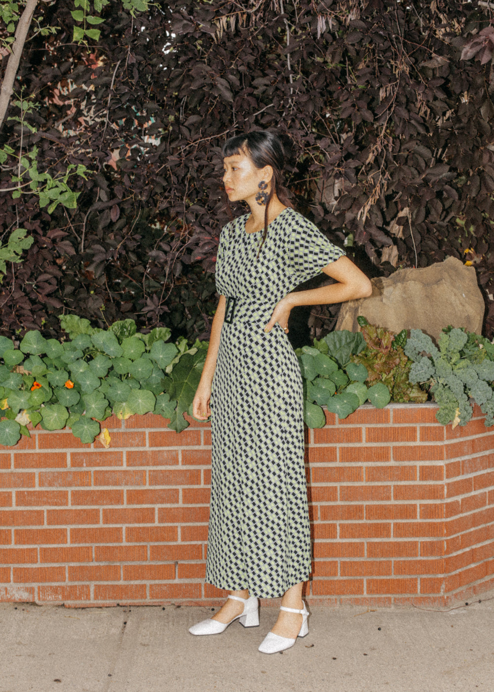 Vintage Belted Maxi Dress