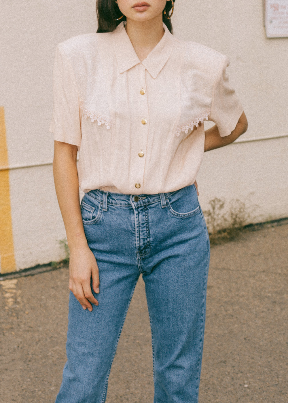 Vintage Peach Button-Up Blouse