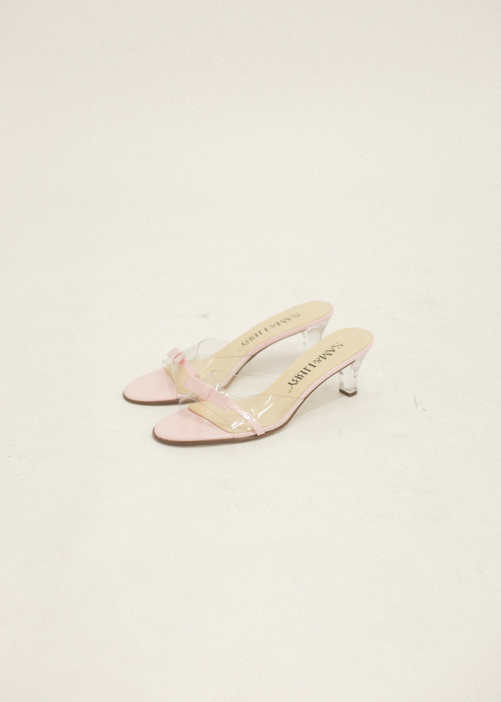 Pre by New Classics Pre-Loved Pink/Clear Bow Mules — New Classics Studios