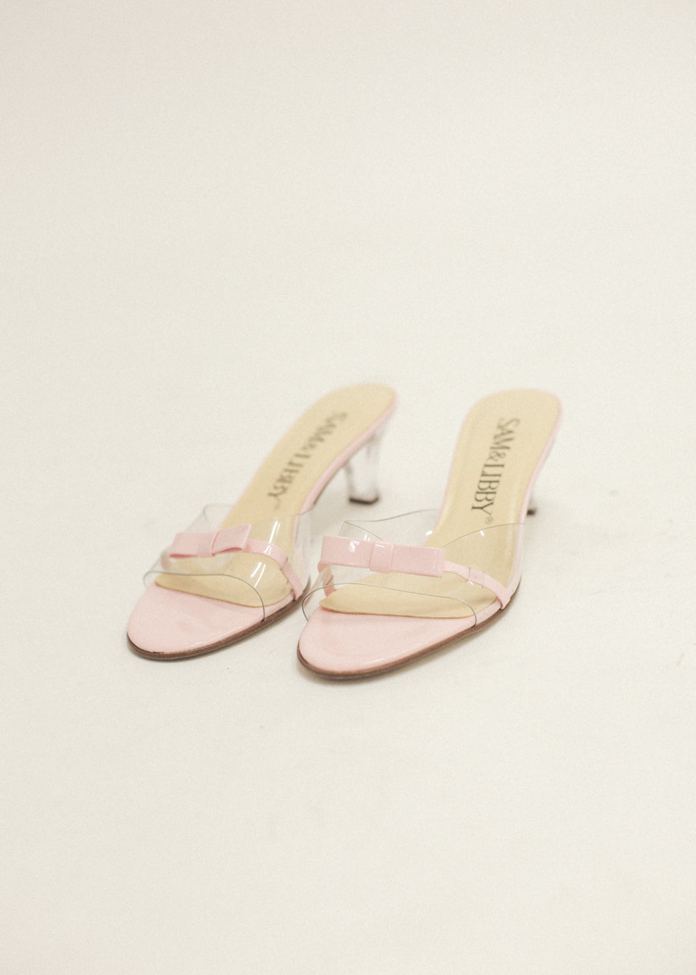 Pre by New Classics Pre-Loved Pink/Clear Bow Mules — Shop sustainable fashion and slow fashion at New Classics Studios