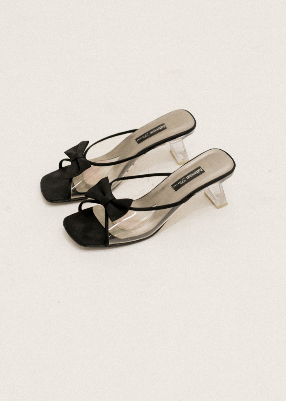 Vintage Clear Bow Heeled Mules