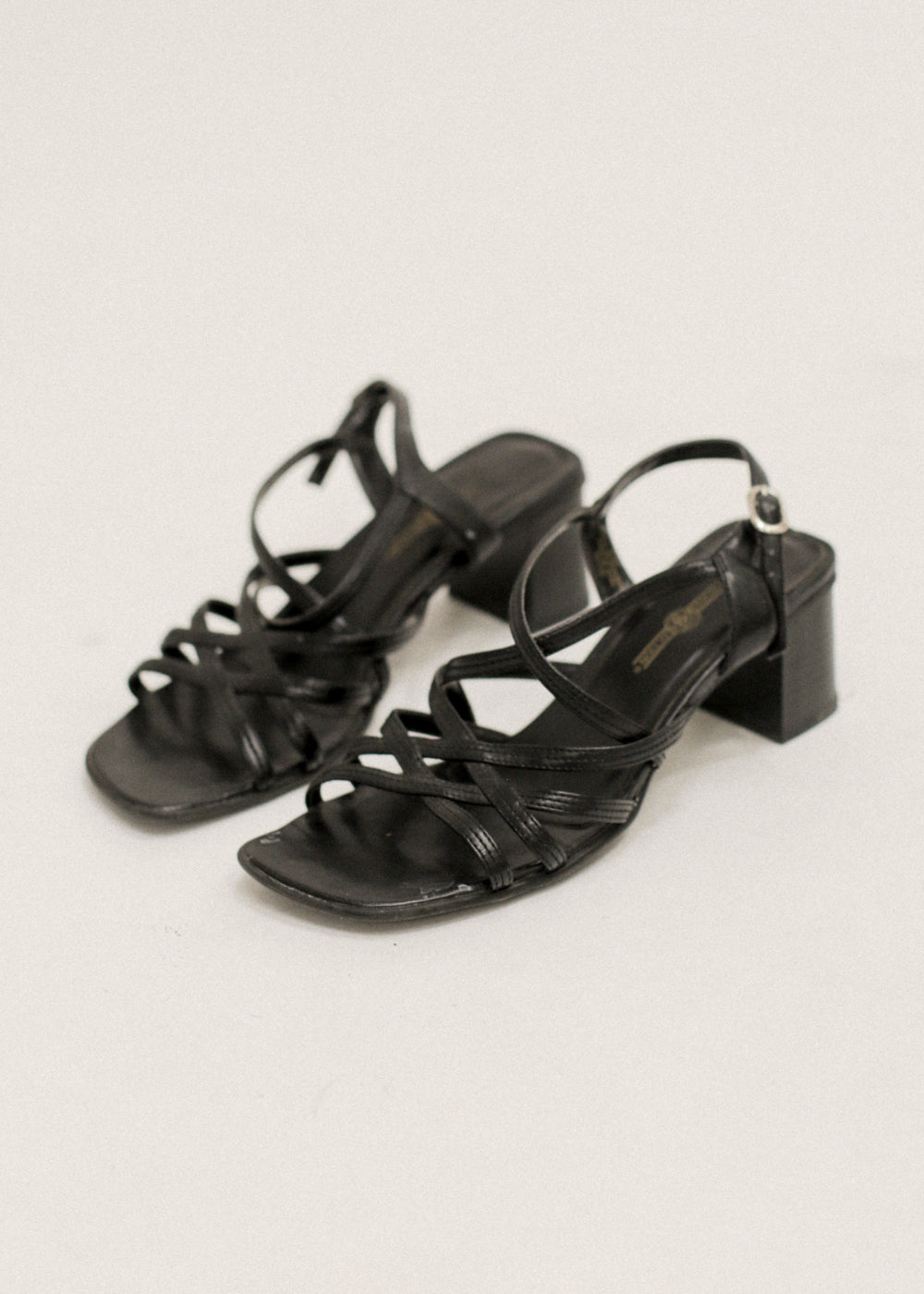 Vintage Black Strappy Heeled Sandals