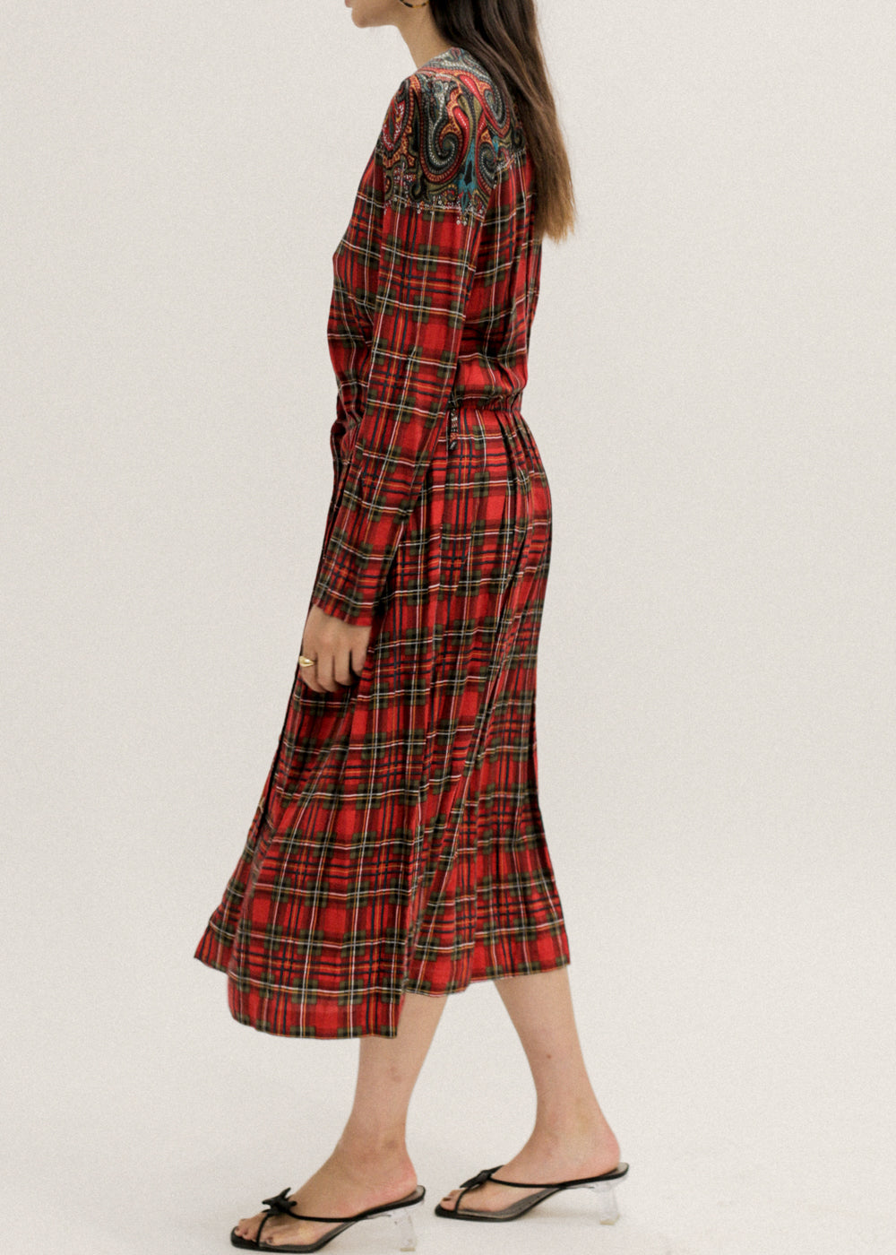 Vintage Red Plaid Pleated Dress