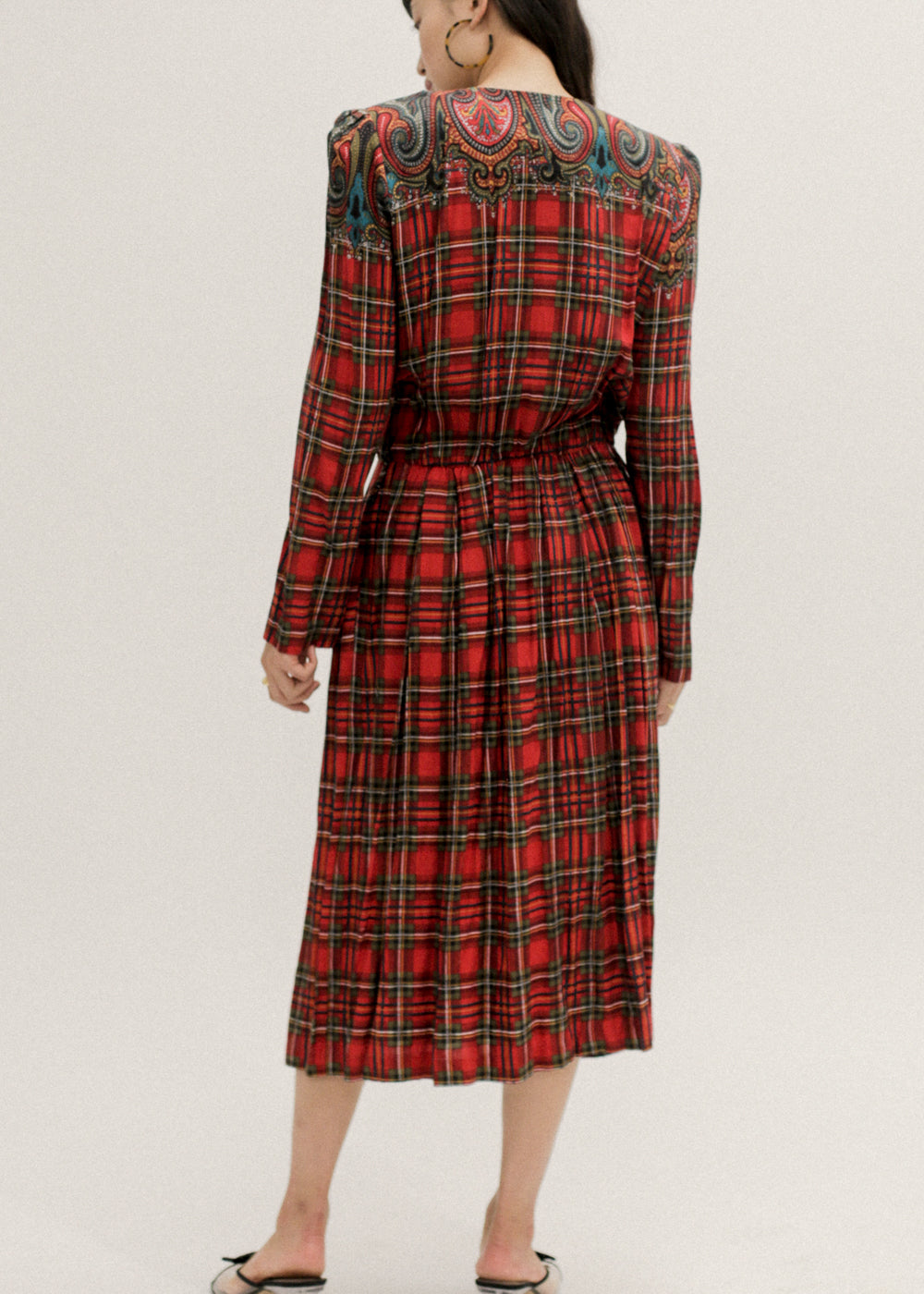 Pre by New Classics Vintage Red Plaid Pleated Dress — New Classics Studios