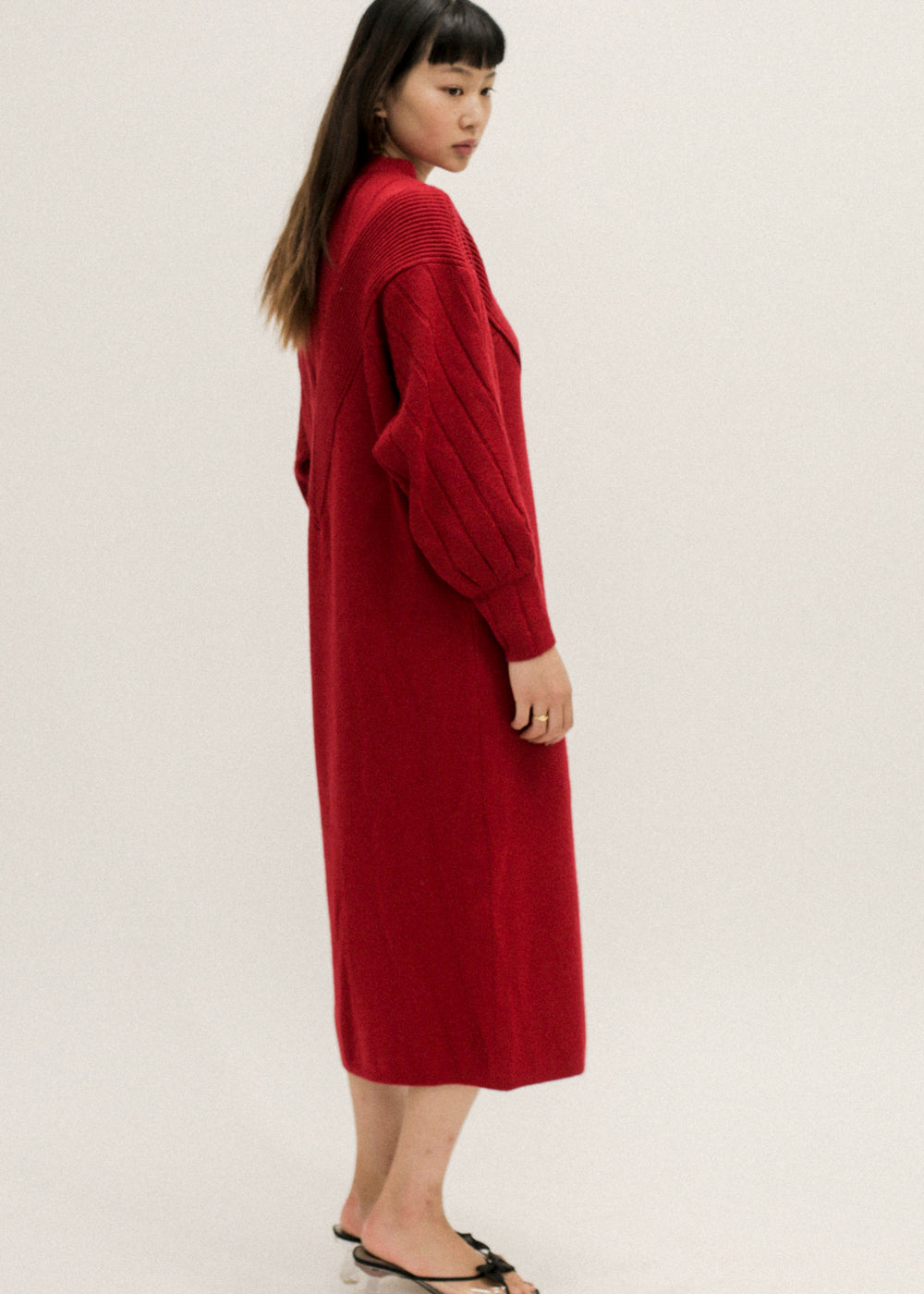 Vintage Red Knit Sweater Dress