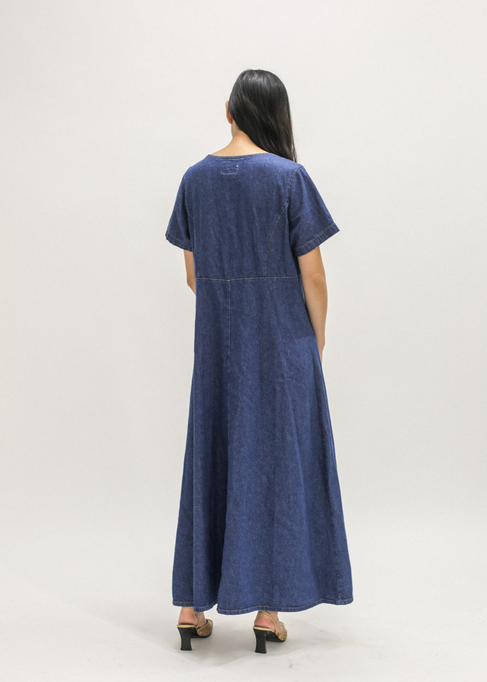 Vintage Denim Button-Up Maxi Dress