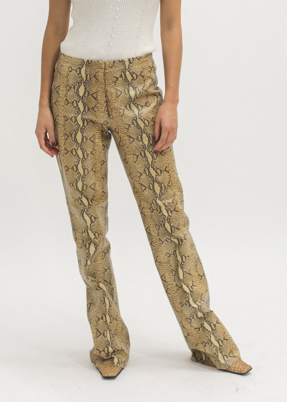 Vintage Leather Faux Snake Skin Pants