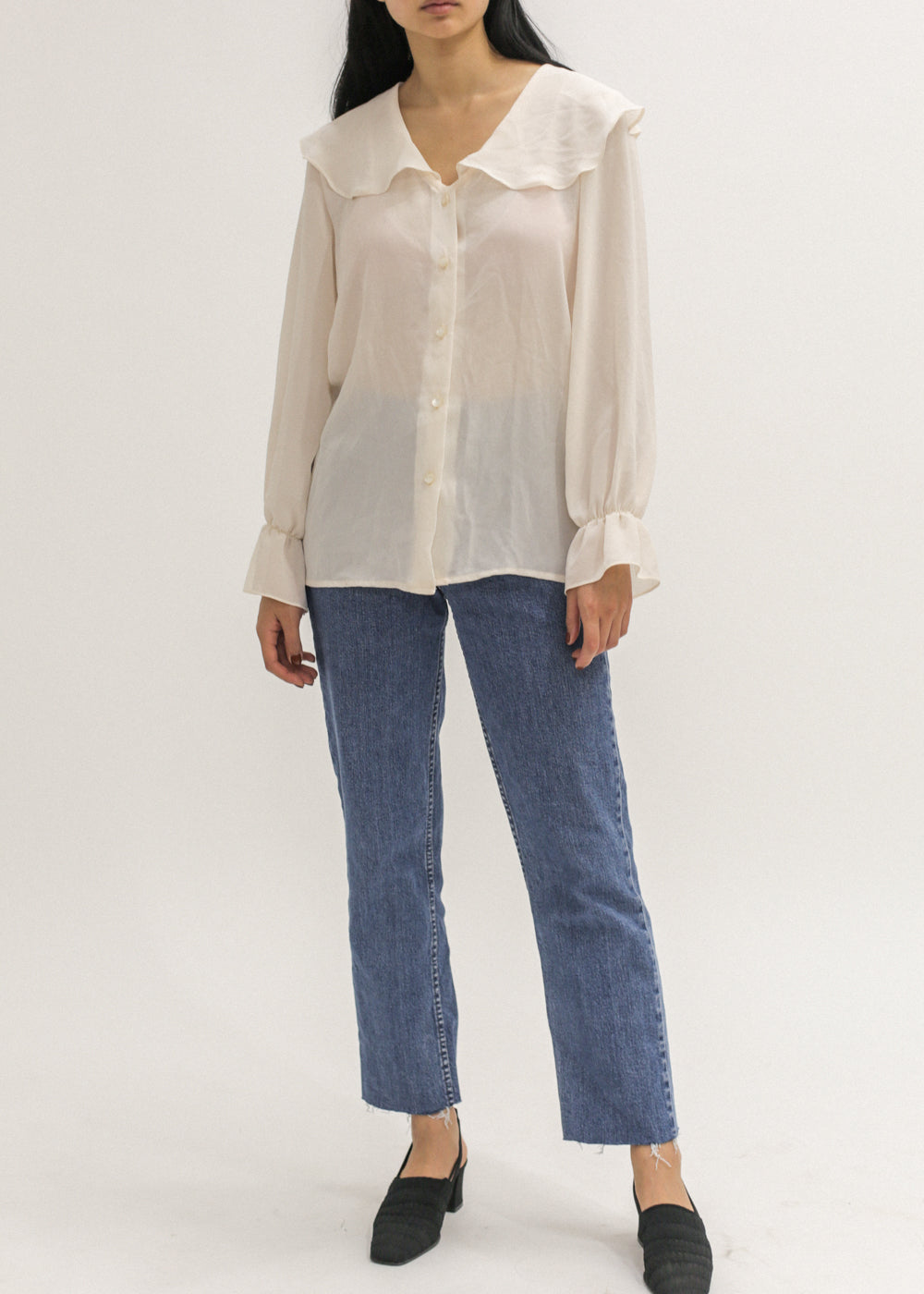 Vintage Semi-Sheer Ruffle Blouse