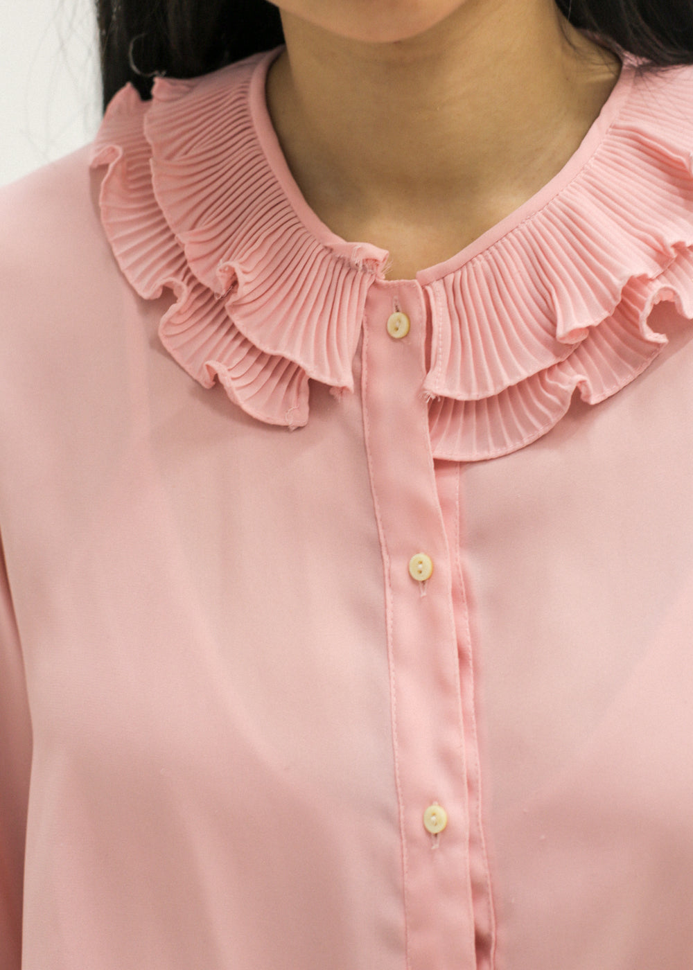 Pre by New Classics Vintage Pink Ruffle Collar Blouse — Shop sustainable fashion and slow fashion at New Classics Studios