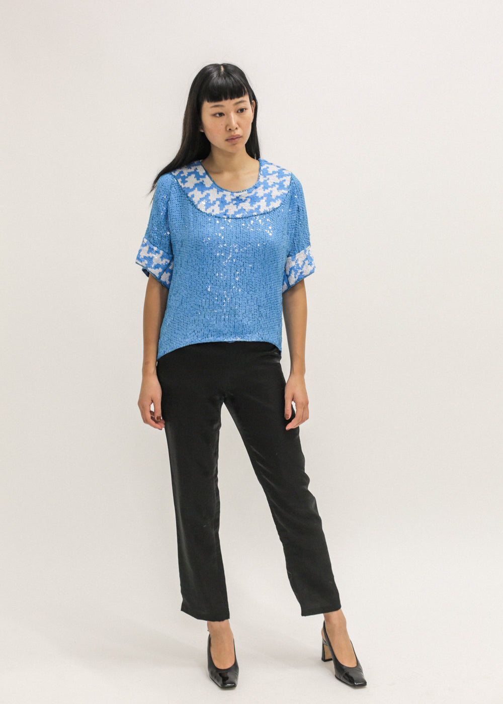 Pre by New Classics Vintage Blue Sequin Top — Shop sustainable fashion and slow fashion at New Classics Studios