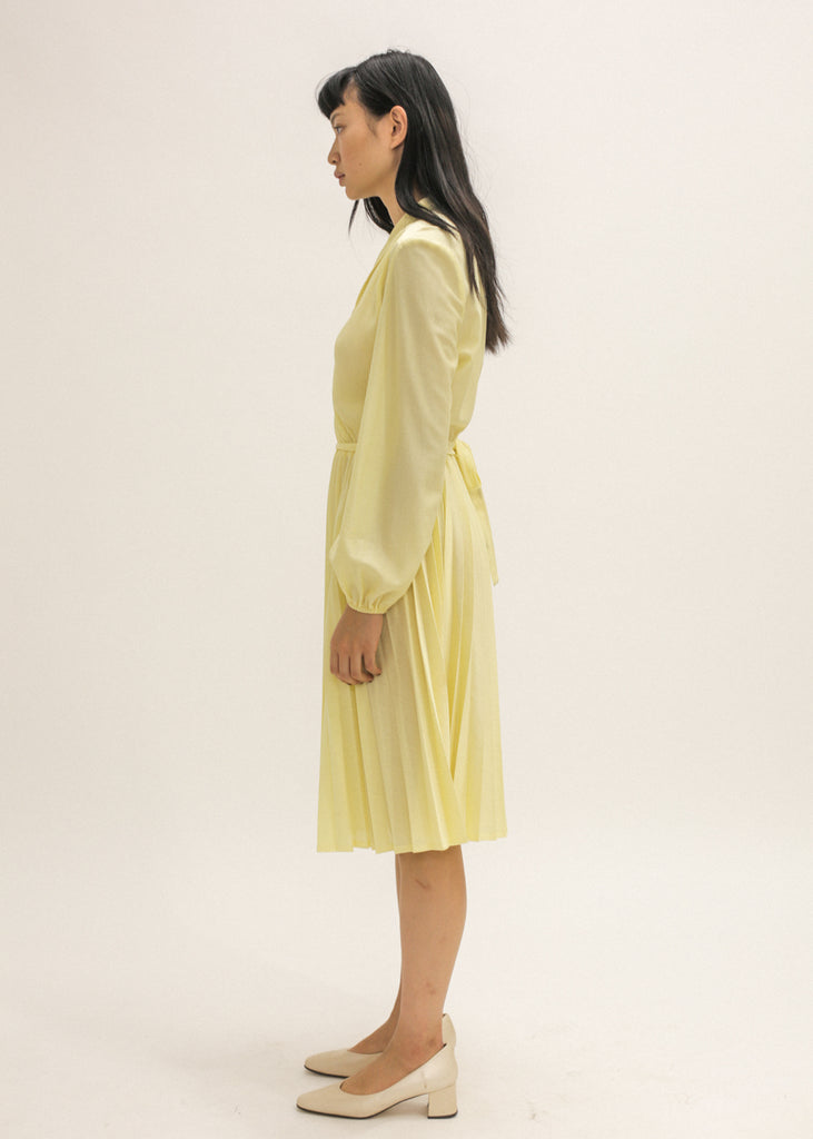 Vintage Yellow Pleated Midi Dress