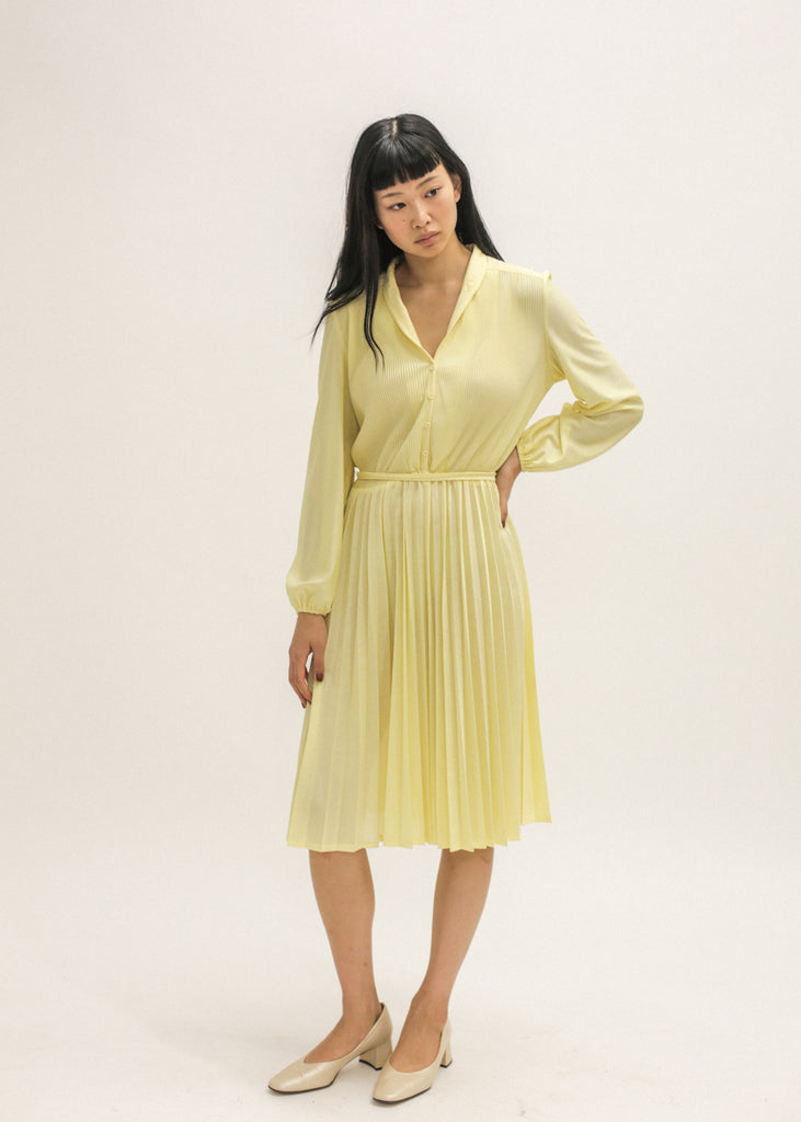 Pre by New Classics Vintage Yellow Pleated Midi Dress — Shop sustainable fashion and slow fashion at New Classics Studios