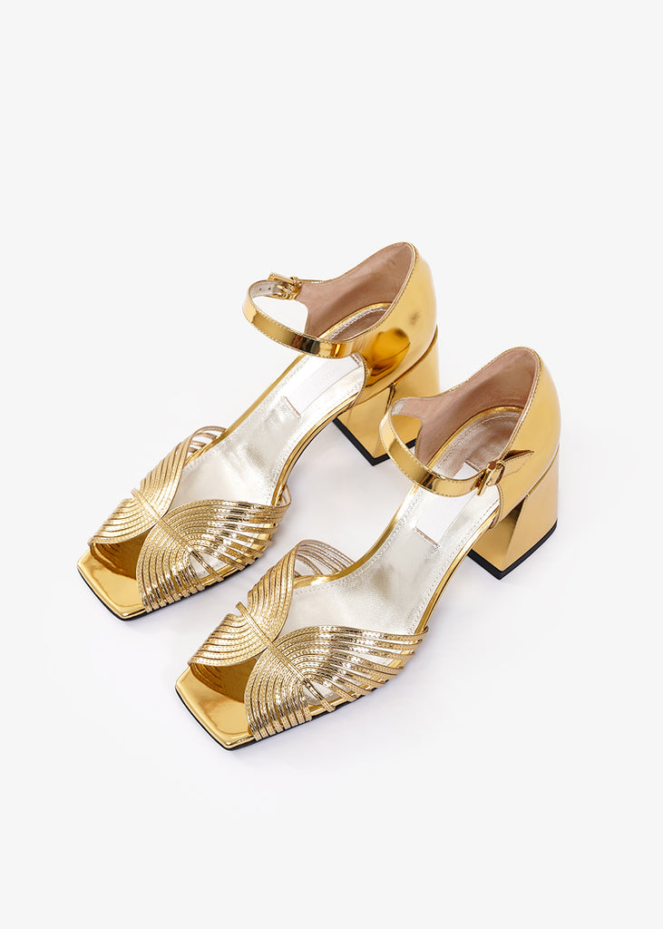 Suzanne Rae Gold 70s Strappy Sandals — Shop sustainable fashion and slow fashion at New Classics Studios