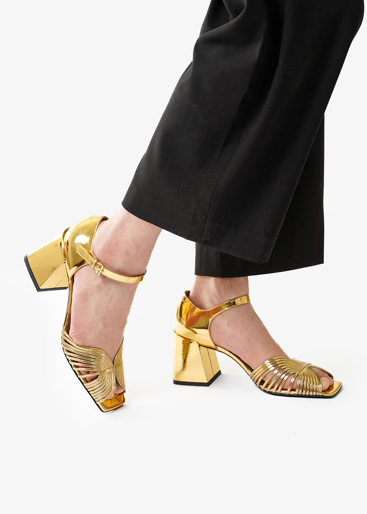 Gold 70s Strappy Sandals - New Classics Studios