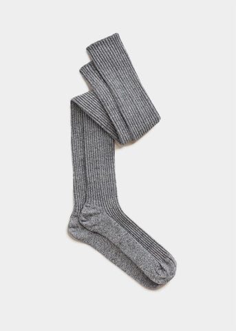 Grey Melange Over The Knee Knit Socks
