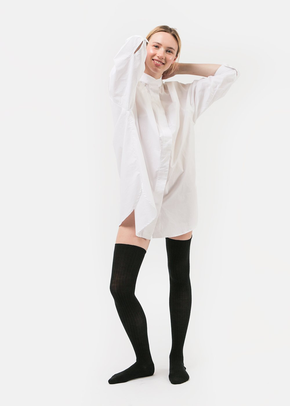 Baserange Black Overknee Socks — Shop sustainable fashion and slow fashion at New Classics Studios