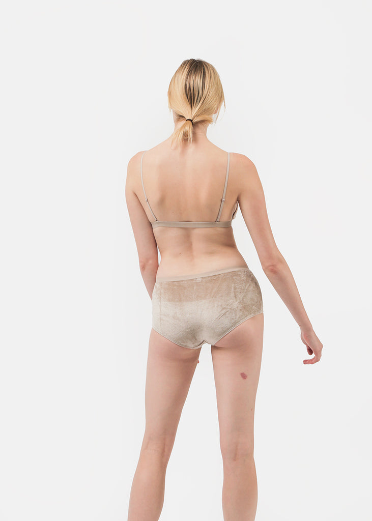 Baserange Beige Velours Luanda Pants — Shop sustainable fashion and slow fashion at New Classics Studios