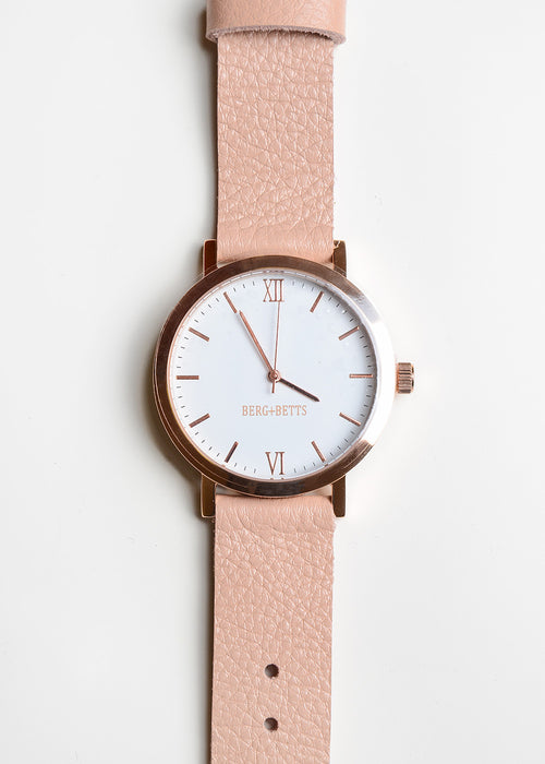 Berg + Betts Rose Gold Round Watch in Pale Pink — New Classics Studios