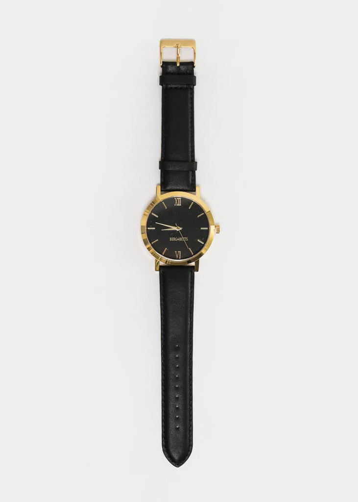 Berg + Betts Black and Black Gold Round Watch — New Classics Studios