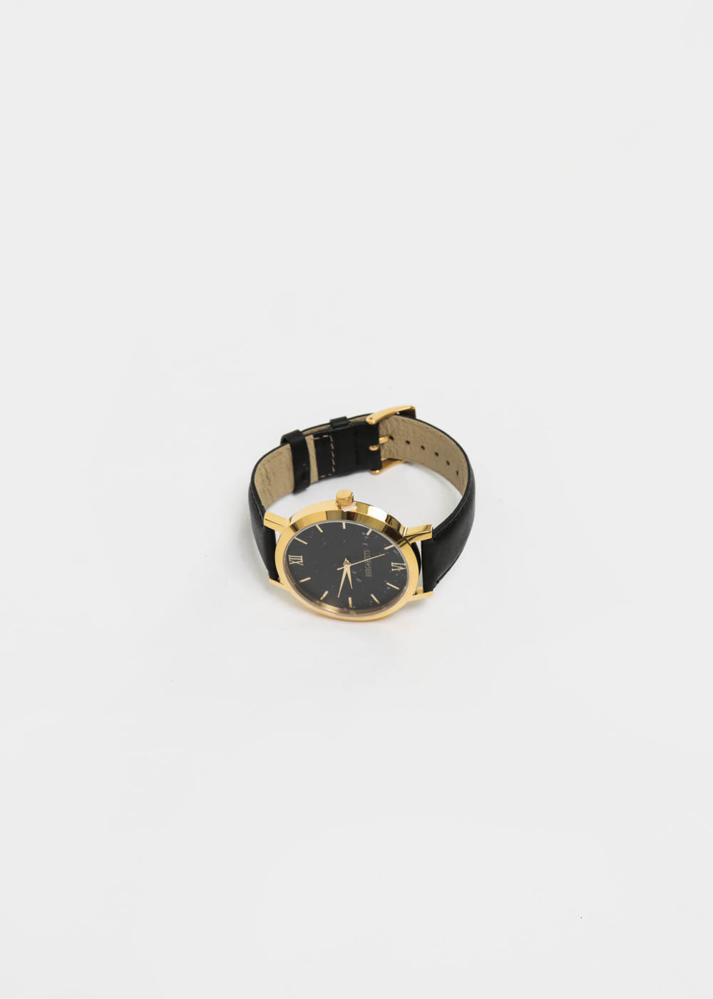 Black and Black Gold Round Watch