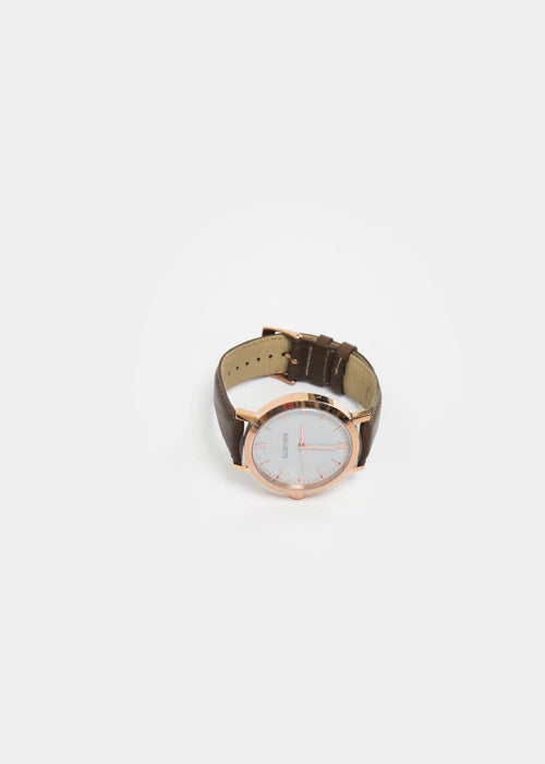 Berg + Betts Rose Gold and Dark Taupe Round Watch — New Classics Studios