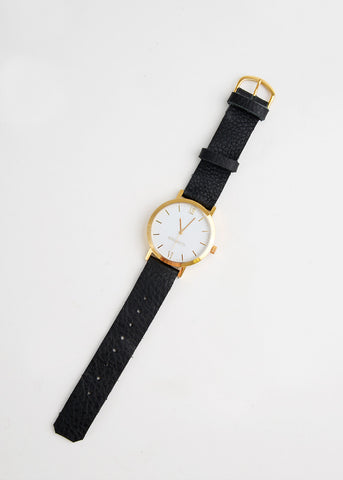 Gold Round Watch in Black