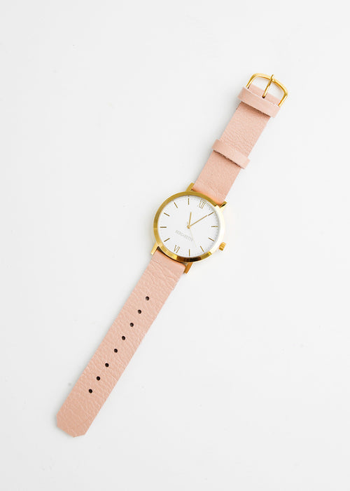 Berg + Betts Gold Round Watch in Pale Pink — New Classics Studios