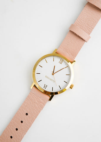 Gold Round Watch in Pale Pink