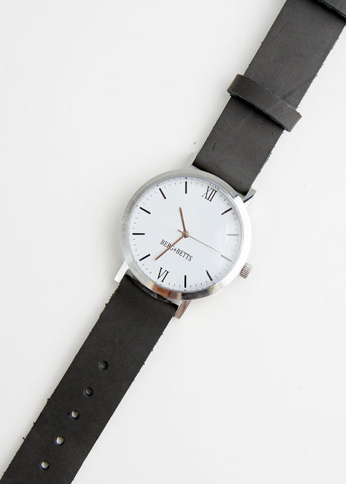 Berg + Betts Silver Round Watch in Slate Grey — New Classics Studios