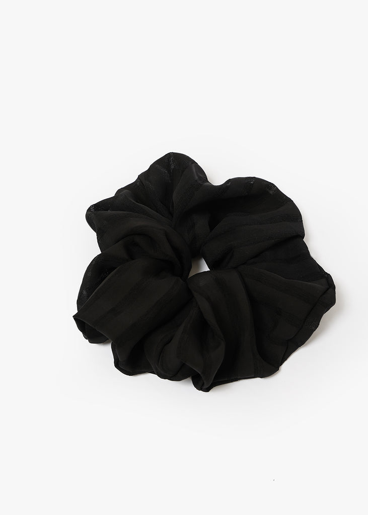 Black Silk Gingham XL Scrunchie