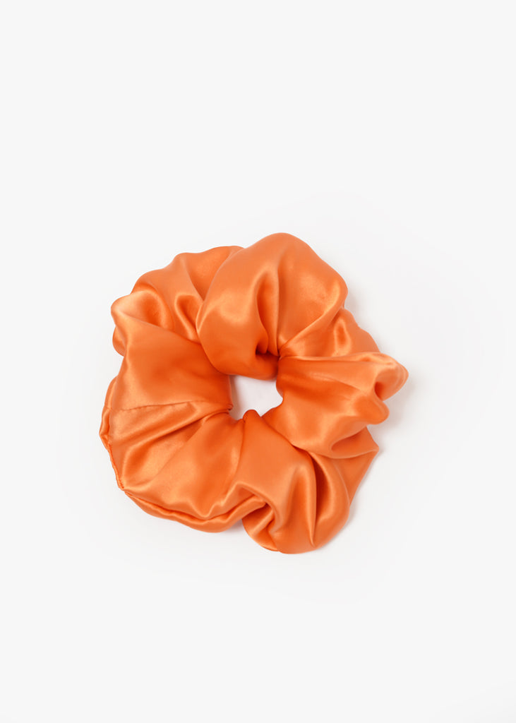Orange Silk L Scrunchie