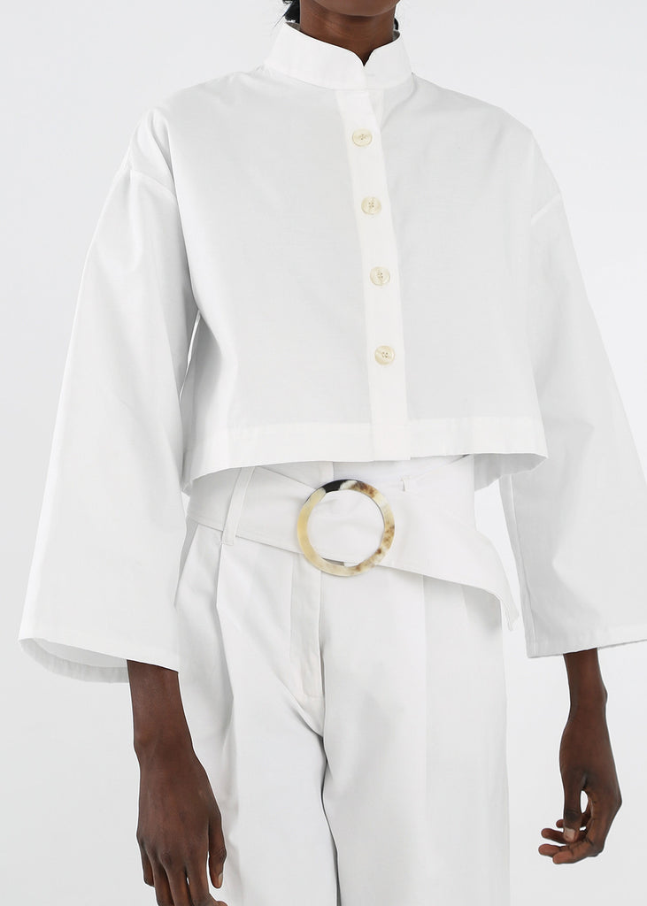 Delfina Balda White Armonia Button Up — Shop sustainable fashion and slow fashion at New Classics Studios