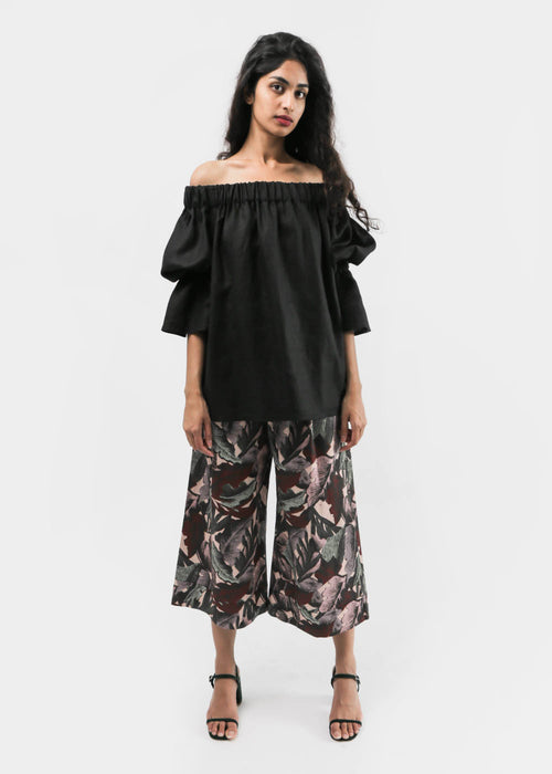 Palm Print Cropped Wide Leg Pant