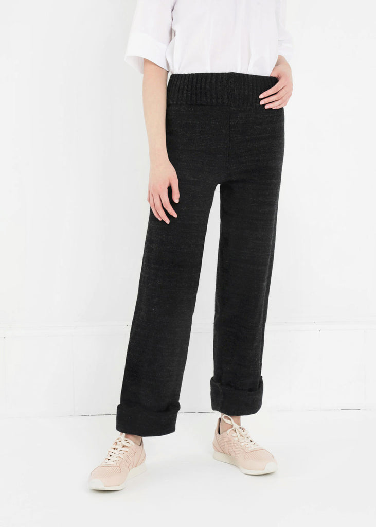 Été Noir Heavyweight Knit Trousers — Shop sustainable fashion and slow fashion at New Classics Studios
