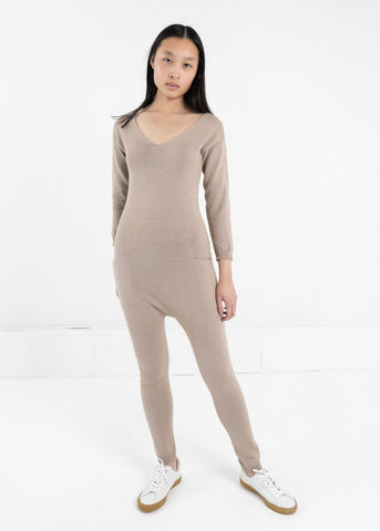 Tan Knit Jumpsuit