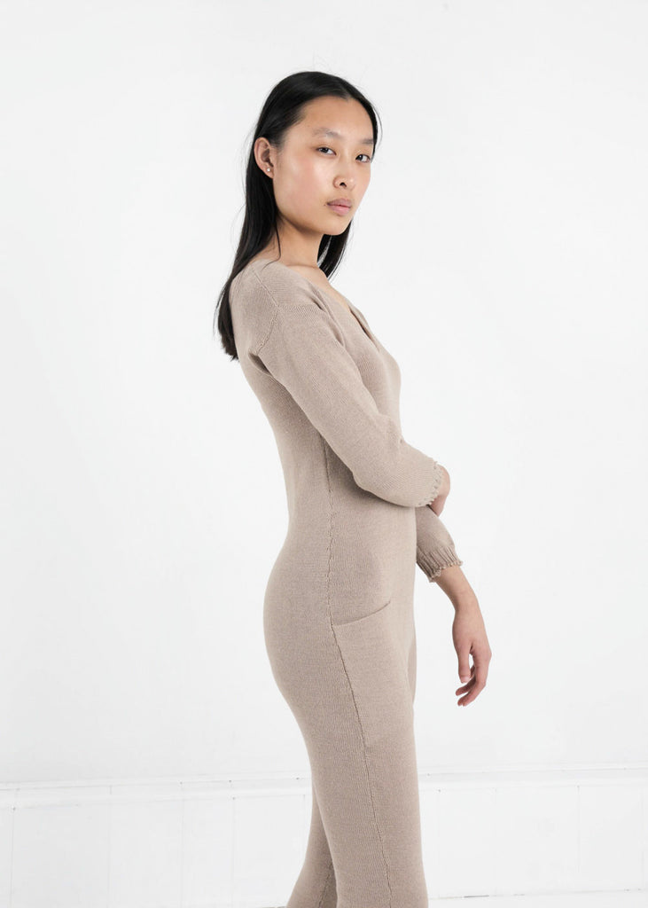 Été Noir Tan Knit Jumpsuit — Shop sustainable fashion and slow fashion at New Classics Studios