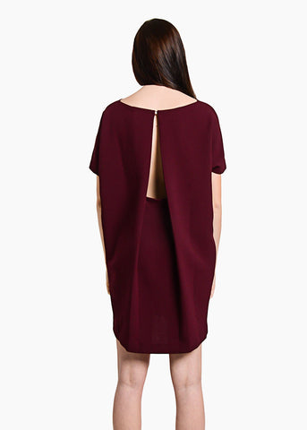 Burgundy Angle Mini Dolman Open Back Dress