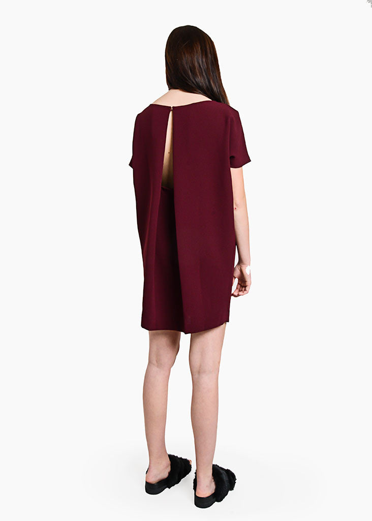 Kaarem Burgundy Angle Mini Dolman Open Back Dress — New Classics Studios